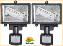 2 x Wall Mounted Halogen Security Flood Light Lamp With Motion Sensor Detector