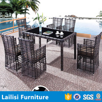 Cheap modern garden furniture patio rattan dining table set