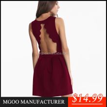MGOO ODM/OEM Wholesale New Arrival Wine A Line Party Dresses For Women Slim Fitting Sector Backless Pleated Vestidos Roupa