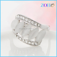 crystal wedding accessories rhodium synthesize ring with milky opal milky jewelry