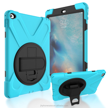 Wholesale 360 rotating belt clip shock case for iPad air 1 2 cover with PU leather wrist strap