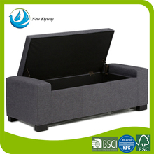 Rectangular Storage Ottoman Bench easy lift top lid Wood construction PU Leather long storage bench stool for living furniture