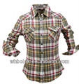 Women plaid flannel shirts long sleeve gingham shirt new pattern slim shirt