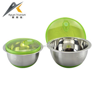 High quality 16/18/20/22/24/26cm salad bowl sets stainless steel mixing bowl with plastic lids