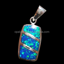 Big Square mexican style opal 925 sterling silver pendant jewelry design