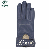 Best Brand Fashionable Women's Leather Gloves With Rivets