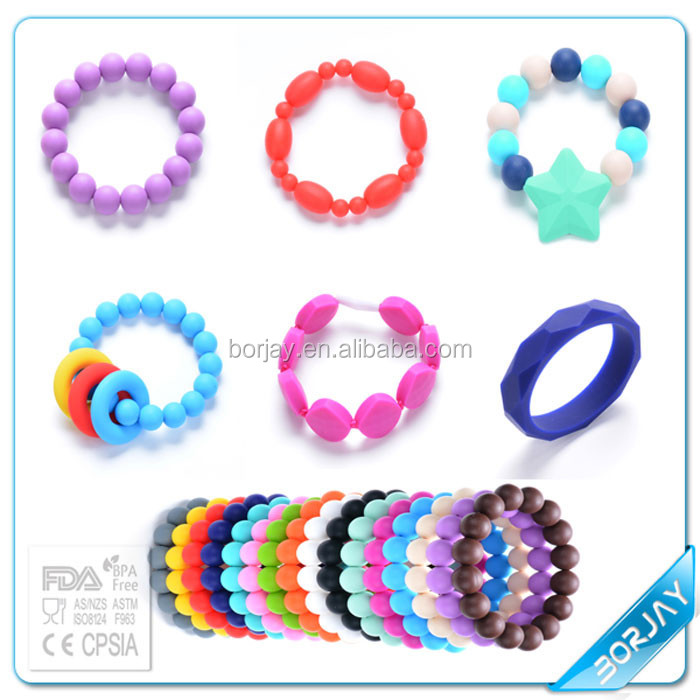 Silicone Jewelry Main Material And Bangles,Bracelets Jewelry Type Bead Bracelet For Baby Teething