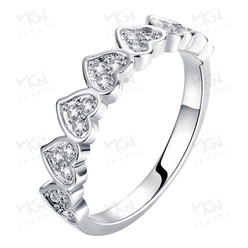 2015 new arrival gold plated fashion diamond heart shaped ring