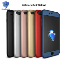 Premium 360 Case For iPhone 7, Full Protective Ultra Slim Matte PC Hard Cover for iPhone 7 With Tempered Glass, Mobile Case 360