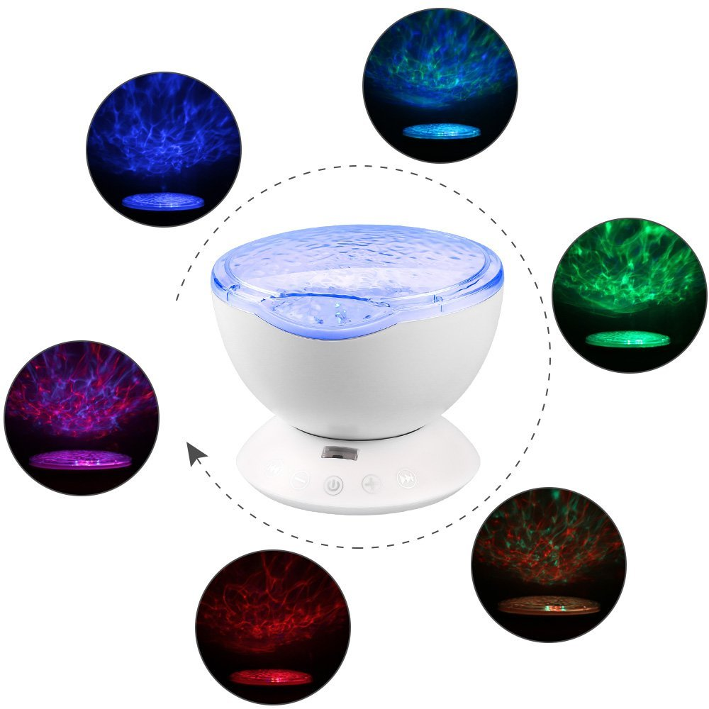 Multi-Colored Ocean Wave Projector Sleep Nightlight with Remote Control Built-in Music Player Decoration Lamp for Kids Adults