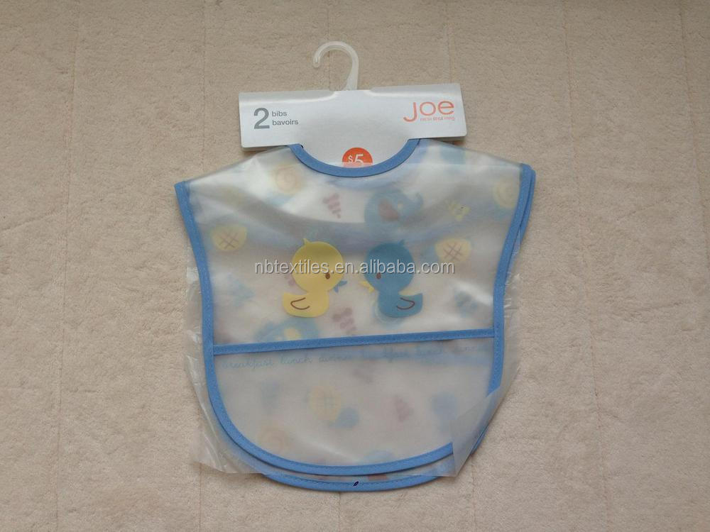 2014 OEM NEW print waterproof soft EVA baby bibs with pocket