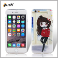 Fidelity colored drawing + stick diamond TPU cell phone case for iphone6