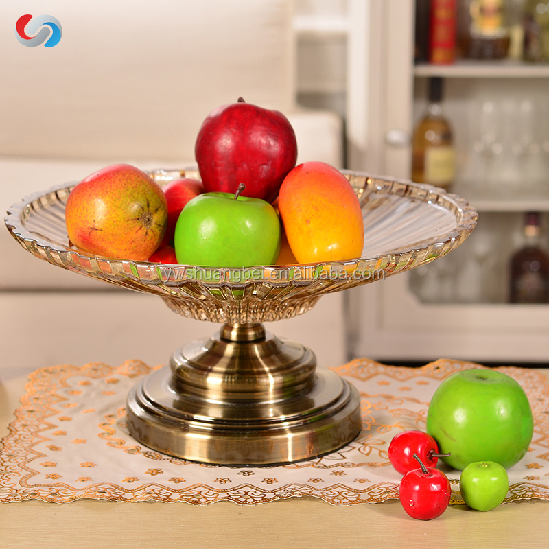High Quality Glass Fruit Plate With Metal Stand For Decorative