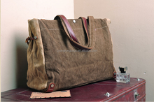 Heavy waxed canvas tote bag with leather handles for wholesale
