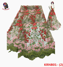 KRNB01-2 New Arrival 2017 AAA quality African Flowers French net Lace Fabric With Beads For Dress