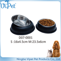 new type top sale pet feeding stainless steel bone dog bowl with double basin