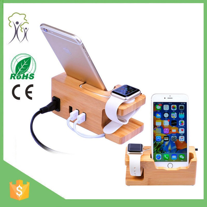 2017 2 in 1 bamboo wooden docking station charging dock station for multiple devices in stock