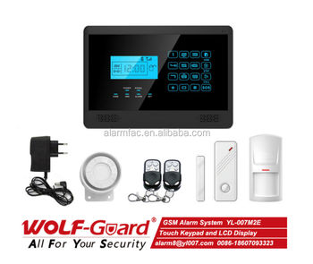English/Spanish/Italian/French Wolf-Guard YL-007M2E Wireless GSM Home Security alarm System with Touch Keypad/LCD Display
