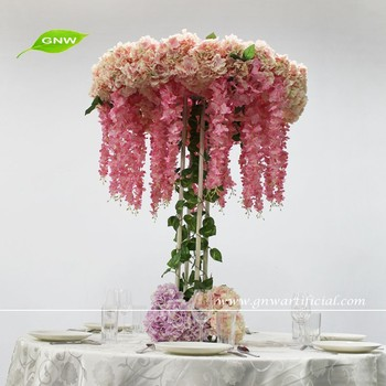 GNW CTR1503001 5ft Wedding Stage Decoration Life size Silk Wisteria Hydrangea Blossom Artificial Tree Centerpiece