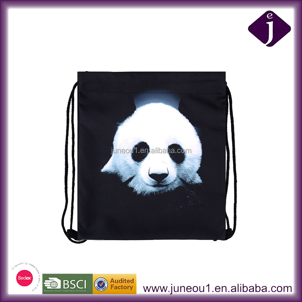 3D Printing Panda Partern Decorative Drawstring Storage Bags Lightweight Beach Backpack