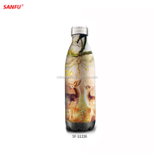 Customizable double wall insulated stainless steel water bottle
