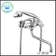 Russia dual handle wall mounted long spout bathtub faucet