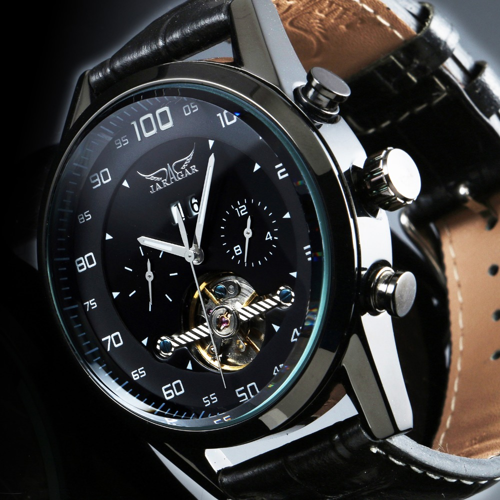 Jaragar Fashion Luxury Leather Material Tourbillon Stainless Steel Material Type Mechanical New Style Men Mens Automatic Watches
