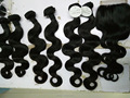 7 pieces brazilian virgin hair body wave hair bundles with lace closure