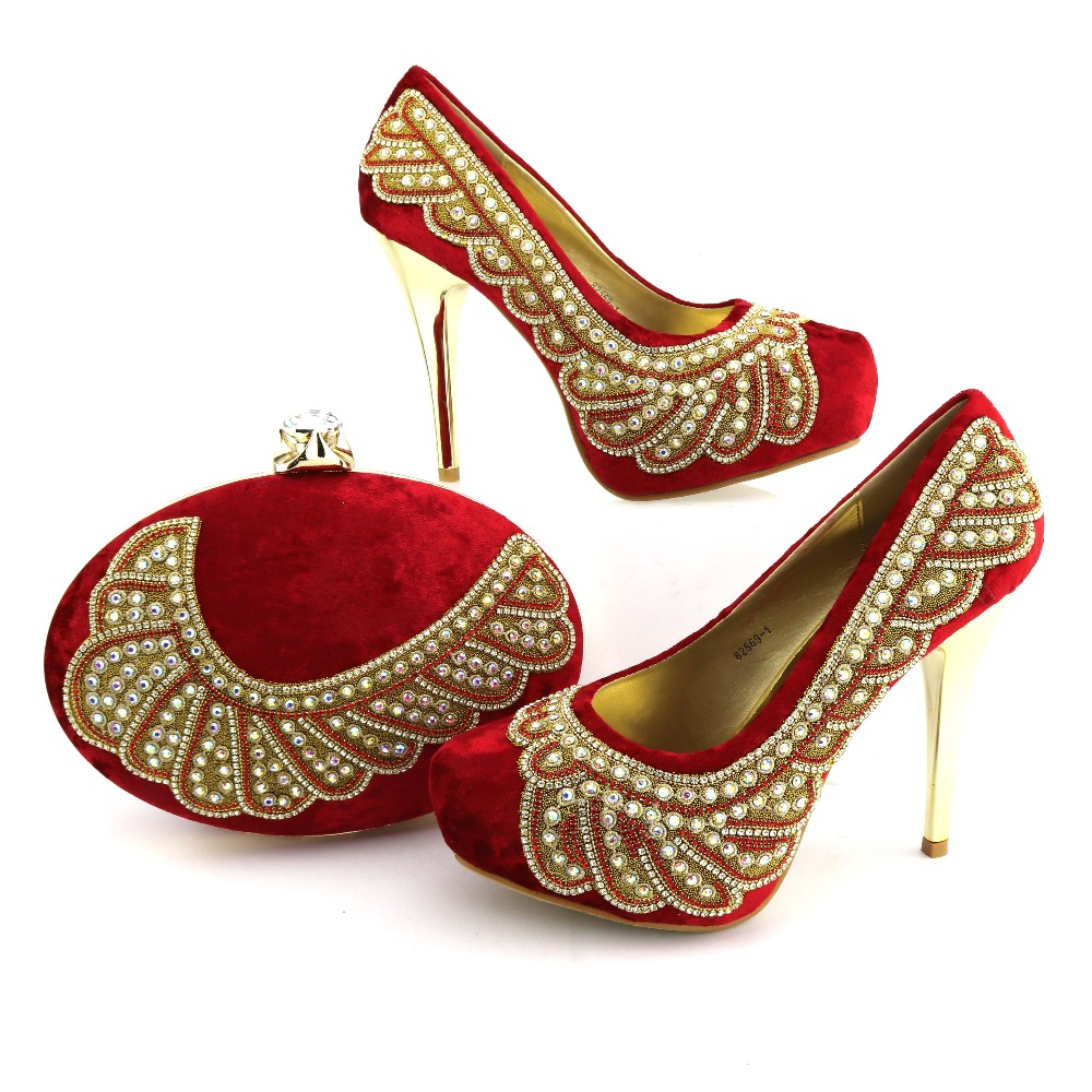 Italian Lady Clutch bag set high heel shoes matching bag African style wedding party shoes and bag sets