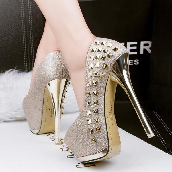SAA40193 Super high 15cm stiletto heels mature women round head shoes with rivet