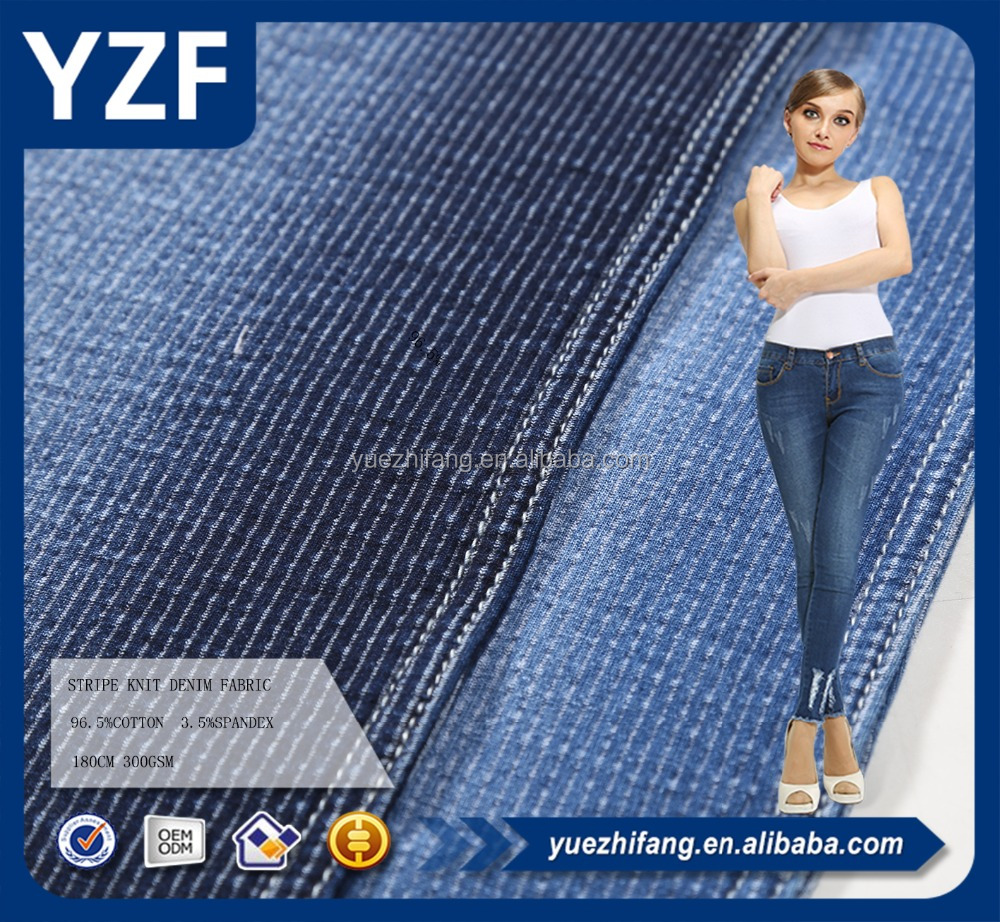 indigo stripe style knitting denim fabric for casual pants