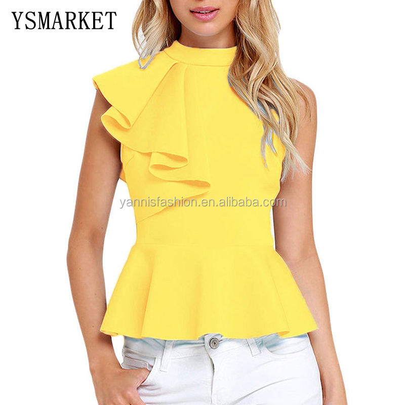 Stylish Summer Ladies Tank Top 2017 Yellow Asymmetric <strong>R</strong> Asymmetric Ruffle Side Peplum Tops Veste Femme Feminino 6 colors E25845