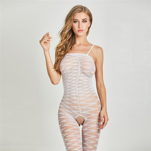 Quality Assurance woman sexy transparent open crotch bodystocking suit