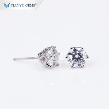 Tianyu Gems customized 14k 18k white solid gold 1ct moissanite stud diamonds earring