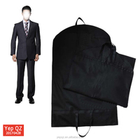 Easy carrying eco non woven black travel garment suit bag