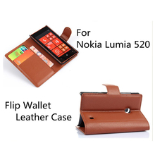 Luxury PU Leather Wallet Flip Case Cover For Nokia Lumia 520