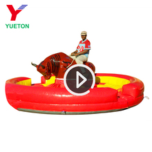 Factory price Wholesale Crazy Kid Electric machine mechanical rodeo bull riding toy with inflatable bungee mat mattress for sale