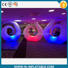 Polished event use 3m led lighted inflatable snail tubes decoration
