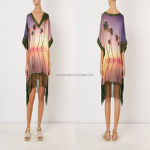 Women kaftan print beach dress fringed bandeau beachwear bikini cover up