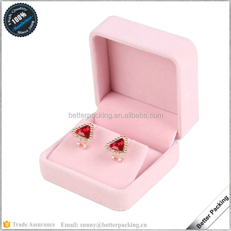 China Supplier Pink Velvet Plastic Earring Jewelry Box