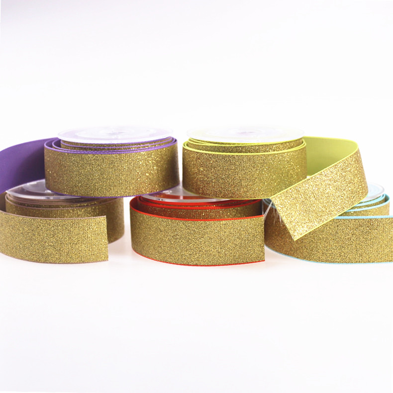 wholesale solid glitter Grosgrain Ribbon