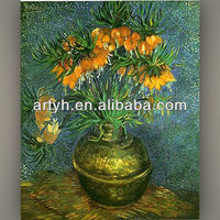 Famous art hot sale flower designs fabric painting by van gogh