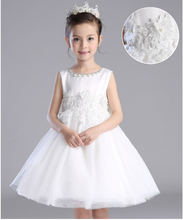 HOT SALE white lace flower wedding prom pakistani indian kids girl dress party princess dress