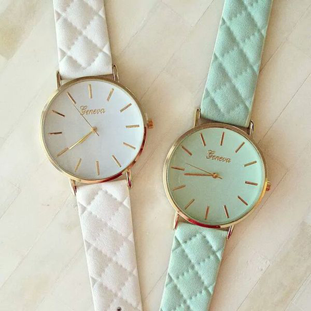 2016 New Fashion Women Dress Watch vintage Leather Lake Blue Watches refined Bracelet  wristwatch casual  W047