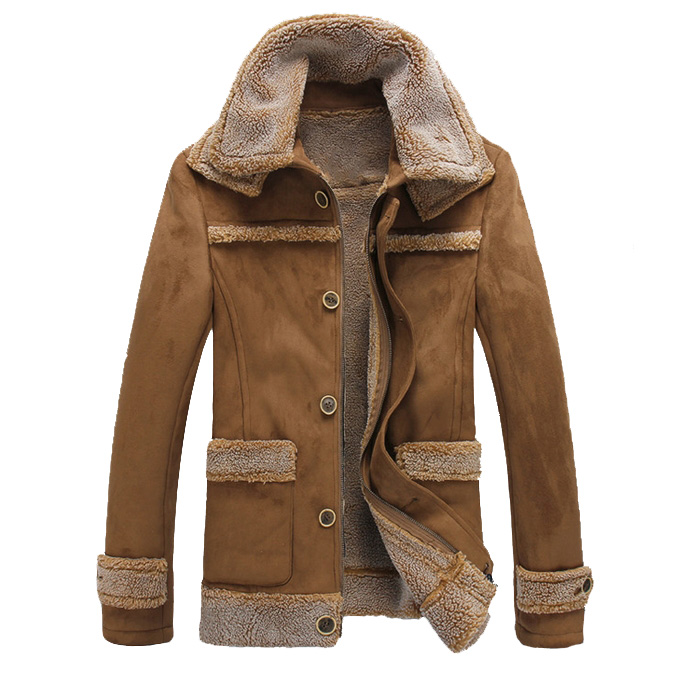 Business Men Shearling Collar Camel Winter Coat