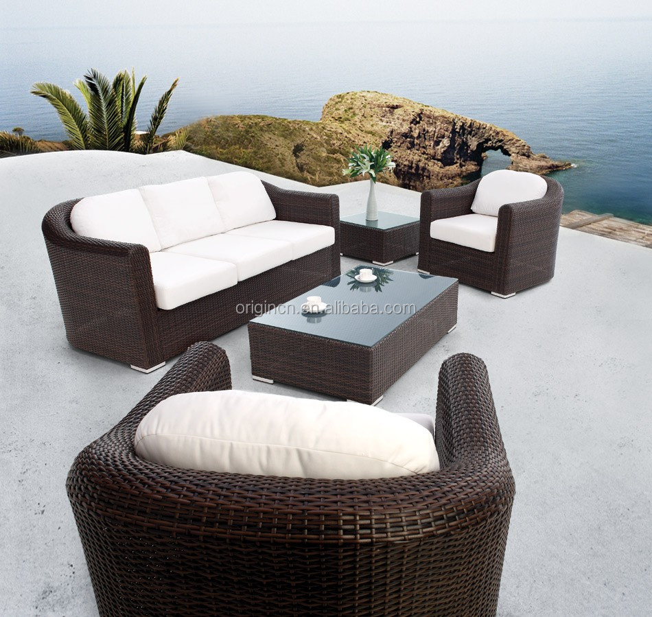 Classical thick design home outdoor patio furniture with for Sofas mimbre exterior