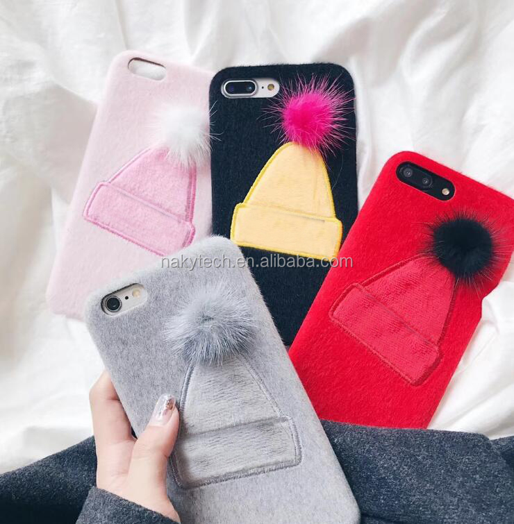 Special Design Soft Touch Warm In Winter Christmas Cap Protective Accessories Hard Back cover for iphone 7/8/8 plus