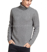 classic roll neck 7gg cable knitted pure men cashmere jumper