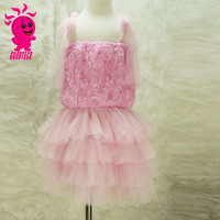 New Fashion Pink Sleeveless Chiffon Frock Design Rose Flower Girl Dress For Baby Girl Party Dress