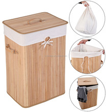 Bamboo Hamper Laundry Basket Washing Cloth Bin Rangier Lid Bamboo Laundry Hamper
